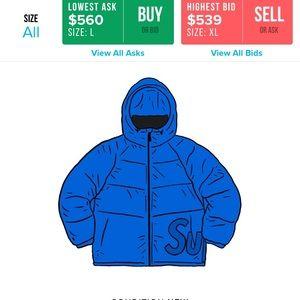 blue supreme hooded jacket